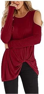 KESEELY Long Sleeve Womens Off Shoulder Tops Round Neck Sweatshirt Top Blouse