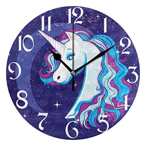 Jacque Dusk Reloj de Pared Moderno,Unicornio Romántico Luna Cielo Estrellado Magia,Grandes Decorativos Silencioso Reloj de Cuarzo de Redondo No-Ticking para Sala de Estar,25cm diámetro