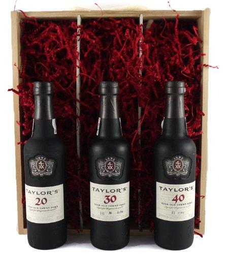 Taylor's 90 Jahre portwein 1930 mit Holzkoffer Geschenkset, 3x Flaschen 37,5 CL