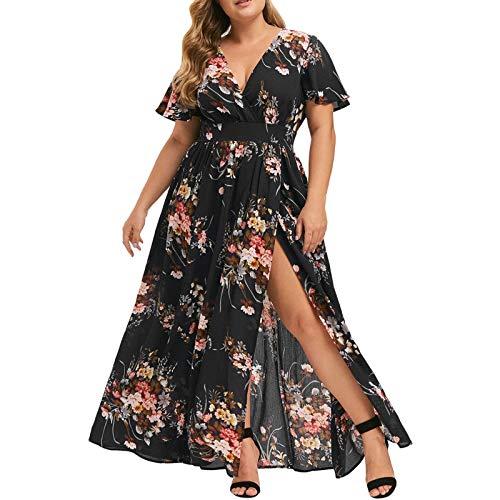 Ansenesna Kleid Große Größen Damen Sommer Blumen Lang Elegant Sommerkleid Für Mollige Frauen V Ausschnitt Kurzarm Kleider Leichte Sommerkleider