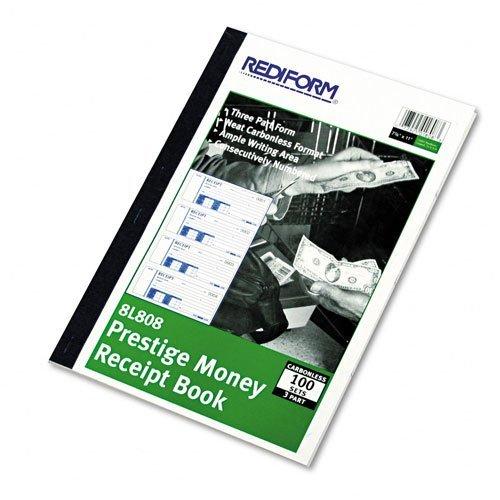 Rediform 8L800 Money Receipt Book, 2 3/4 x 7, Carbonless Duplicate, 100 Sets/Book by Rediform
