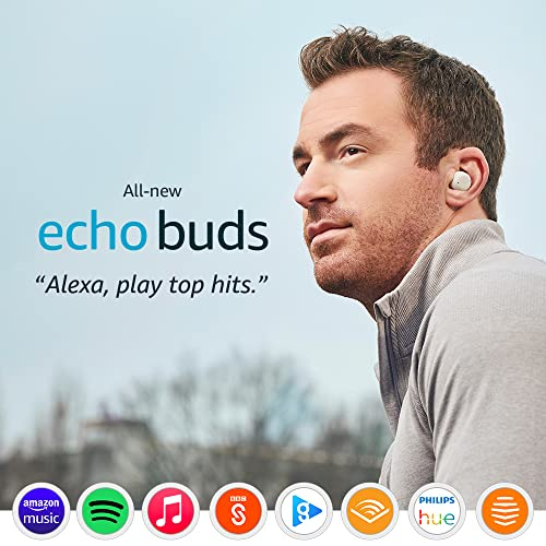 All-new Echo Buds (2nd generation) | Wireless earbuds with active noise cancellation and Alexa | Glacier White