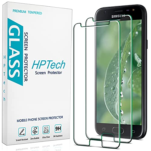 2-Pack HPTech Tempered Glass For Samsung Galaxy J3 2017, J3 Luna Pro, J3 Eclipse, J3 Emerge, J3 Prime, J3 Mission Screen Protector, Easy to Install, Bubble Free, 9H Hardness