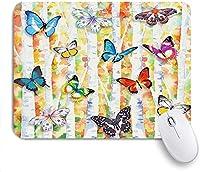 マウスパッド 個性的 おしゃれ 柔軟 かわいい ゴム製裏面 ゲーミングマウスパッド PC ノートパソコン オフィス用 デスクマット 滑り止め 耐久性が良い おもしろいパターン (木に蝶水彩蝶秋の森)
