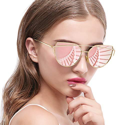 Joopin Gafas de Sol Mujer Polarizadas Ojos de Gato de Moda Vintage Cateye de Gran Tamaño Rosa