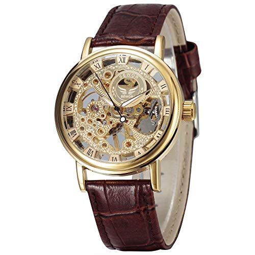 SEWOR Men's Mechanical Skeleton Transparent Vintage Style Leather Wrist Watch (Gold-1)