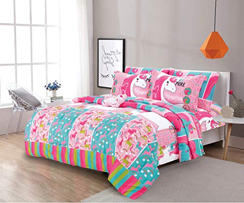 6 Piece Twin Size Kids Girls Teens Comforter Set Bed in Bag with Shams, Sheet Set and Decorative Toy Pillow, Unicorn Rainbows Pink Hot Pink Girls Kids Comforter Bedding Set w/Sheets,T 6pc Unicorn