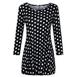 Wintialy Fashion Womens Casual Floral Print Shirts 3/4 Sleeves O-Neck Tunic Blouse Tops (X-Large, Dot Black)