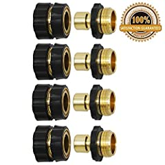 "Includes 4 female quick connectors and 4 male quick connectors, premium aluminum material make it strongest construction for prolonged service life. Universal: Standard 3/4"" aluminum garden hose quick connectors fits all garden hose, watering devices..."