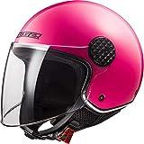 LS2 OF558 Sphere Casco Moto Jet Abierto para Motocicleta Ciclomotor y Scooter con Visera Larga Cascos de Moto Mujer y Hombre ECE Homologado Rosa Brillante M (57-58cm)