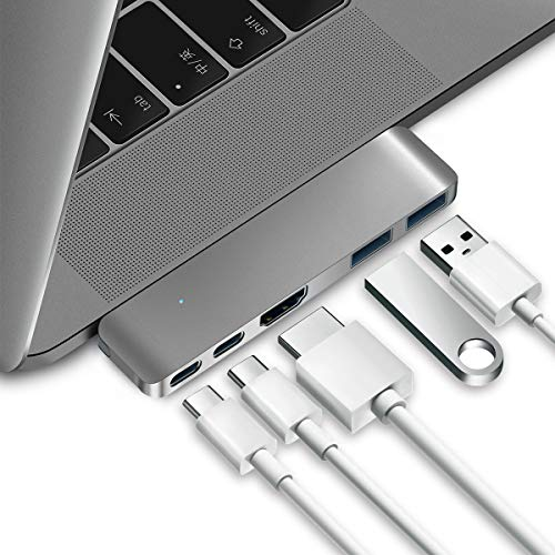 "Purgo USB C Hub Adapter Dongle for 2019 MacBook Air, 2019-2016 MacBook Pro 16"",15"",13"", Ultra Slim Type C Hub with 4K HDMI, 100W Power Delivery, 40Gbps Thunderbolt 3 5K@60Hz and 2xUSB 3.0 (Space Grey)"