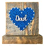 Sweet & small blue DAD string art heart sign block. Perfect Father's Day gift. I love you Dad, by Nail it Art. #1 Dad Best Dad. $2 shipping