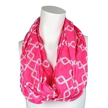 Womens Interlocking Chain Square Pattern Scarf w/ Zipper Pocket - Pop Fashion (Pink)