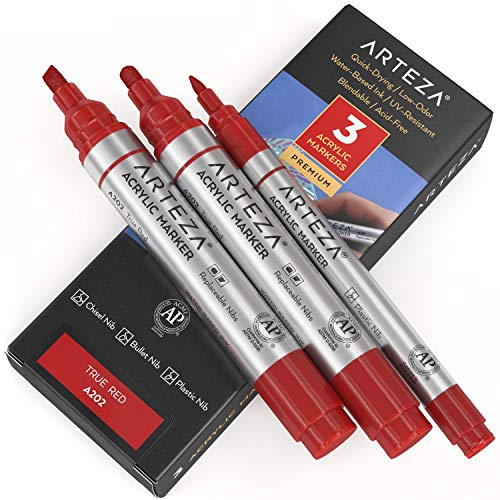 Arteza Acrylic Paint Markers, Pack of 3, A202 True Red, 1 Thin and 2 Thick...