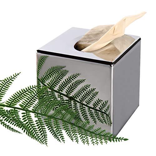 VINTAGE & REPUBLIC Tissue Box Cover Quadratischer Tissue Box Halter für Badezimmerzubehör, Schlafzimmer oder Büro, Nachttische, Schreibtische und Tische - Silber