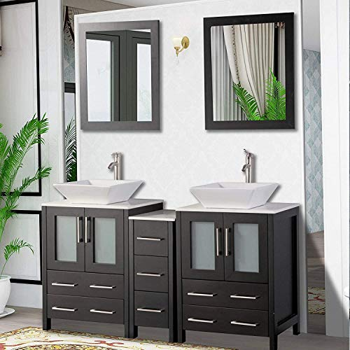 Vanity Art 60 Inch Double Sink Bathroom Vanity Compact Set 3 Cabinets 2 Shelves 7 Drawers Quartz Top and Ceramic Vessel Sink Bathroom Cabinet with Free Mirror VA3124-60-E