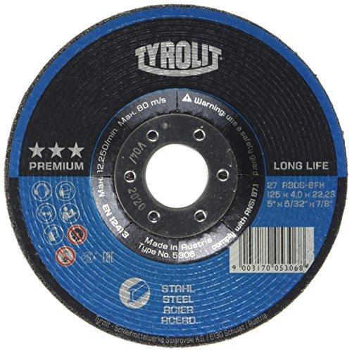 Tyrolit 5306 Schruppscheibe, Premium, Durchmesser 125 mm, Stärke 4 mm, Stahl (10-er Pack)