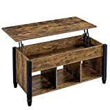 Yaheetech Lift Top Coffee Table with Hidden Compartment & Open Storage Shelf, Lift Accent Tabletop Dining/Center Table for Living Room Reception