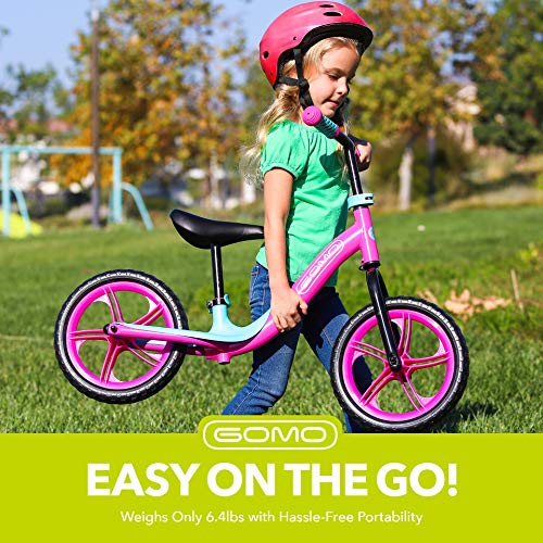 GOMO Balance Bike - Toddler Training Bike for 18 Months, 2, 3, 4 and 5 Year Old Kids - Ultra Cool Colors Push Bikes for Toddlers/No Pedal Scooter Bicycle with Footrest (Red/Grey)