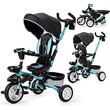 BABY JOY Baby Tricycle 7-in-1 Kids Folding Steer Stroller w/ Rotatable Seat Adjustable Push Handle & Canopy Safety Harness Cup Holder Storage Bag Toddler Trike for 1-5 Year Old Black+Blue