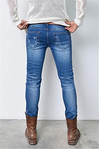 Men's Fashion Ripped Destroyed Jeans Slim Fit Distressed Holes Denim Pants