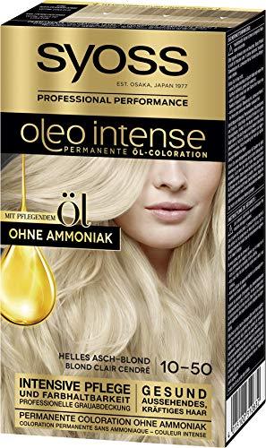 Syoss Oleo Intense Permanente Öl-Coloration 10-50 Helles Aschblond, mit pflegendem Öl & ohne Ammoniak, 3er Pack(3 x 115 ml) SL150