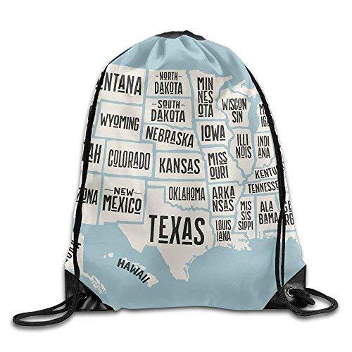Etryrt Prämie Turnbeutel/Sportbeutel, USA Map States Print Drawstring Backpack Rucksack Shoulder Bags Gym Bag Sport Bag