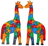 Toys of Wood Oxford Puzzle in Legno a Forma di Giraffa con Numeri e Lettere dell'Alfabeto - Dimensioni Grandi 41cm - Blocchi con Alfabeto e Numeri per Bambini di 3 Anni