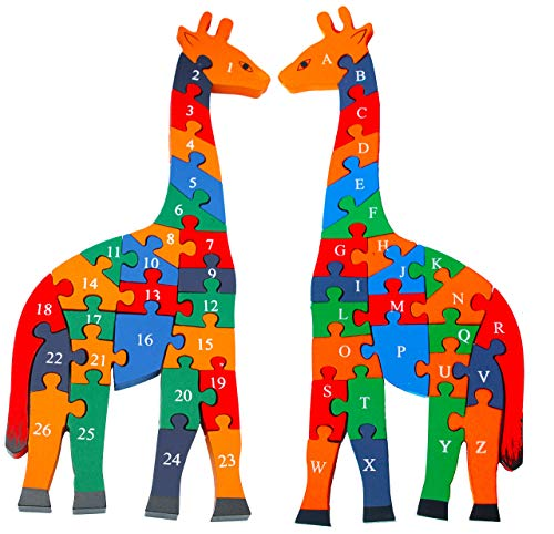 Image of TOWO Wooden Giraffe Alphabet Blocks and Number Blocks Jigsaw Puzzle 41 cm Large Size - Wooden Letter Blocks Puzzle Number Puzzles Educational Toys for 3 Year olds