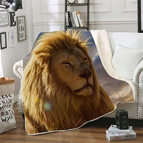 QQFENG Kuscheldecke Bedruckte Fleecedecke Tierdruck 3D Löwe für Betten Dicke Steppdecke Tagesdecke Sherpa Decke Decke Erwachsene Kinder Büro Nap Decke 150 X 200 cm