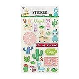 Leisial 6 Blatt Alpaka Kaktus Tagebuch Sticker Fotoalbum Sticker Notizbuch Sticker Sammelalbum Aufkleber 25cm*14.3cm