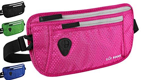 SAO ROQUE Flache Bauchtasche Hüfttasche mit RFID Blocker / enganliegend wasserfest / Damen Mädchen Gürteltasche Taillensafe für Reiten Joggen Laufen Pink