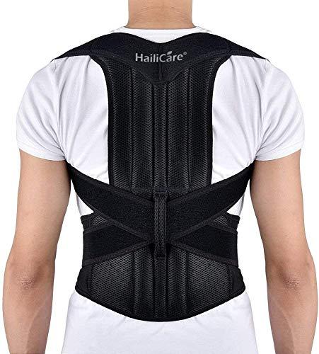 "HailiCare Posture Corrector for Men and Women, Upper Back Brace for Clavicle Support, Adjustable Back Straightener Correction for Spinal, Neck, Shoulder & Full Back Pain Relief - L (Waist 35""-41"")"