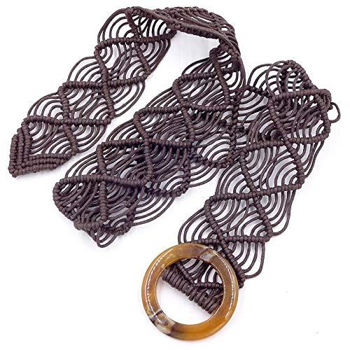 XIMAO Cinturón Decorativo De Cuerda De Cera Hecho A Mano Hebilla De Resina Retro Cadena De Cintura De Damas De Estilo Étnico Europeo Y Americano con Accesorios