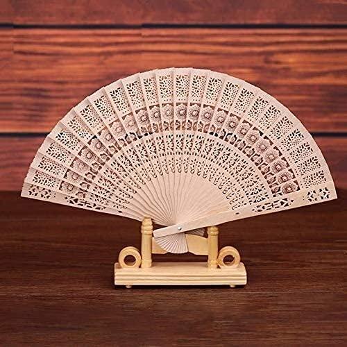 ZJSXIA Ventilador Chino Plegable de la Mano de Madera Original de la Mano de bambú de la Mano del Ventilador de Bolsillo para la decoración del hogar Fiestas FANTESAS Ventiladores Plegables