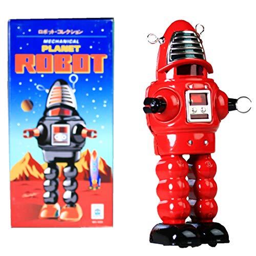 HwaStudio MS430 Red Tin Meccanica Planet Robot, Robby Il Robot, Vintage Riproduzione Nuovo Windup Giocattolo Rosso Nostalgic