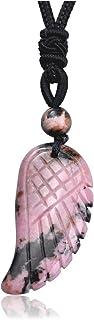 PESOENTH Rhodochrosite Angel Wing Crystal Pendant Necklace Men Women Jewelry Amulet Stone Reiki Healing Natural Quartz Gem...