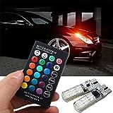 Elegantstunning - 2 lampadine LED per auto multicolore con telecomando, larghezza luce T10 RGB 5050 6SMD, luce a LED