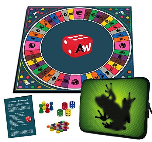 Alleswisser - Das Brettspiel, interaktives Quiz-, Wissens- und Familienspiel mit App für iOS und Android mit Tasche im Frosch & Natur-Layout