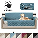BellaHills Fundas de sofá Impermeables Fundas de sofá de 3/4 plazas Protectores de sofá para Perros/Mascotas/Fundas de Muebles para niños Impermeables (4 plazas, Azul/Beige)