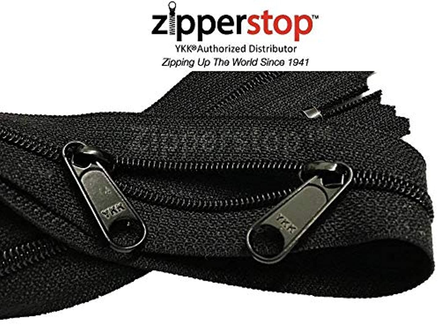 Double Slide Zipper YKK #4.5 Coil with Two Long Pull Head to Head Closed Ended On Both Sides. Made in USA (10pcs, Black) (40