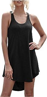 LMMVP Vestidos Mujer Verano Tank Vestido sin Mangas Color Liso Casual Vestido Camisero Cuello en V de Moda Lindo Verano para Mujer Vestidos Playeros