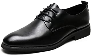 Bin Zhang Classic Oxfords for Men Modern Business Dress Shoes Lace up Microfiber Leather Pointed Toe Low Top Anti-Slip Breathable Wear-Resistant (Color : Black, Size : 7.5 UK)