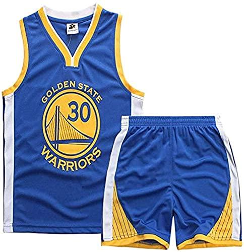 xzl Jerseys de Baloncesto de los niños y Las niñas, Stephen Curry # 30 Niños Baloncesto Jersey, Top, Pantalones Cortos de Verano, Golden State Warriors NBA Jersey, Blue - XXL