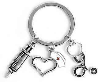 Krankenschwester Schlüsselanhänger mit Spritze, Mütze, Herz und Stethoskop | Arzt | Geschenk | Nurse | Medizin