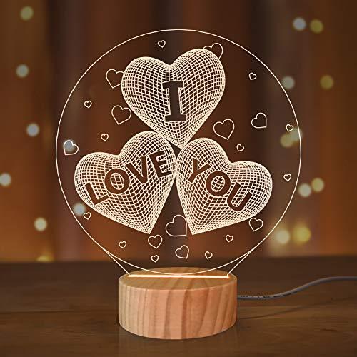 N / A I Love You - Lámpara de mesa con diseño de corazón con ilusión en 3D, ideal para mujer o mujer
