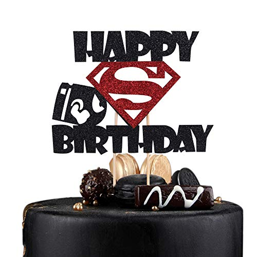 Sunny ZX Happy Birthday Cake Topper Superman Theme Cake Decor for baby Children boys and girls Shower Birthday Party Decorations(blck)