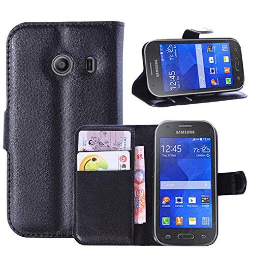 Tasche für Samsung Galaxy Ace Style G310 Hülle, Ycloud PU Ledertasche Flip Cover Wallet Hülle Handyhülle mit Stand Function Credit Card Slots Bookstyle Purse Design schwarz