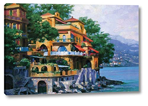 """Portofino Villa by Howard Behrens - 11"""" x 16"""" Canvas Art Print Gallery Wrapped - Ready to Hang"""