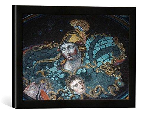 Gerahmtes Bild von Antikes Bodenmosaik Antikes Bodenmosaik, Kunstdruck im hochwertigen handgefertigten Bilder-Rahmen, 40x30 cm, Schwarz matt